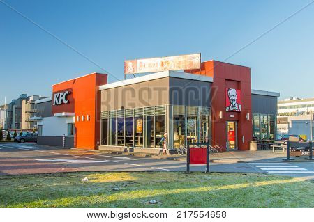 Gdansk, Poland - December 2, 2017: Building of KFC restaurant with drive thru.