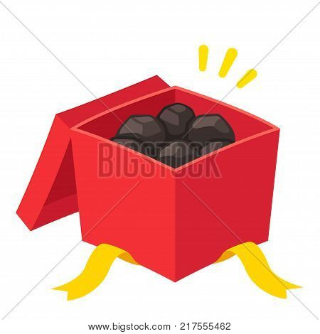 Christmas gift box filled with coal, prank present for naughty kids. Cartoon vector illustration.