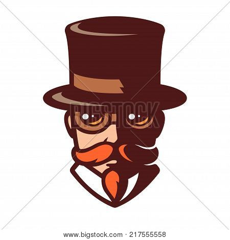 Steampunk man portrait in stylized comics style. Gentleman with mustache in top hat and goggles. Vintage logo vector illustration.