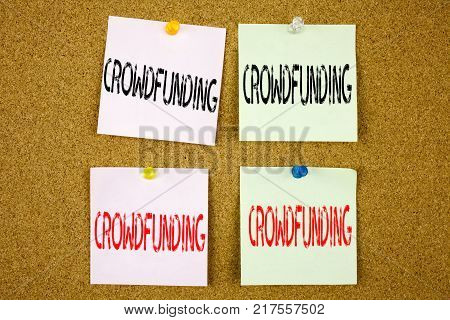 Conceptual hand writing text caption inspiration showing Crowdfunding Business concept for Business Fundraising Project Funding on colourful Sticky Note close-up