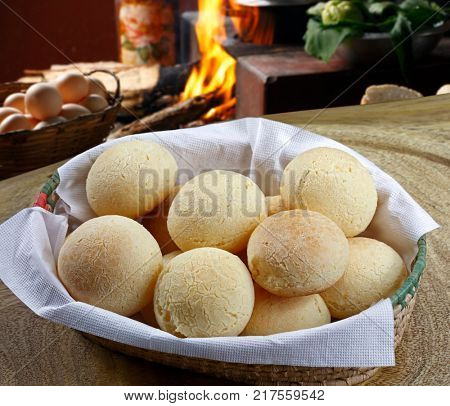 Brazilian cheese bread (pao de queijo), a typical specialty made of cheese, cassava starch, milk, eggs and oil, mixed all together and baked forms a delicious crusty shell with soft springy center