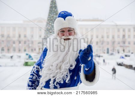 Yoshkar-Ola, Russia - December 26, 2016 Russian Santa Claus on the town square in Yoshkar-Ola, Russia
