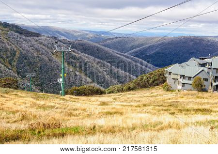 Idle chairlift in autumn - Hotham Heights, Victoria, Australia