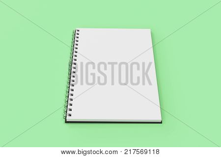Opend blank notebook with black cover and metal spiral bound on green background. Business or education mockup. 3D rendering illustration