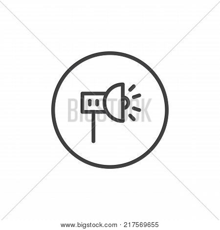 Scenic spotlight line icon, outline vector sign, linear style pictogram isolated on white. Symbol, logo illustration. Editable stroke