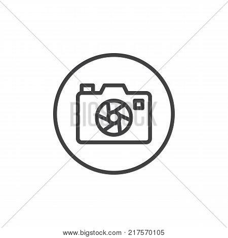Photo camera aperture line icon, outline vector sign, linear style pictogram isolated on white. Camera focus shutter symbol, logo illustration. Editable stroke