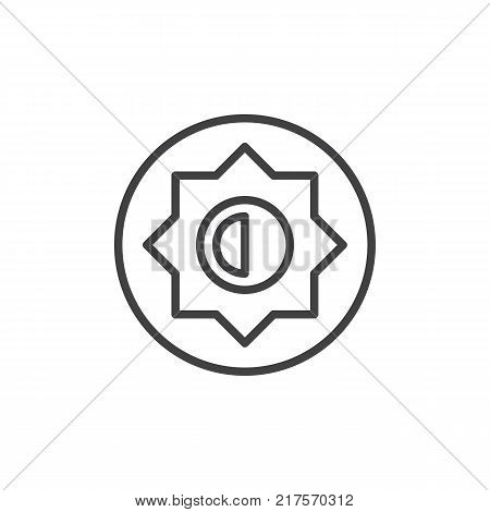 Brightness and contrast setting line icon, outline vector sign, linear style pictogram isolated on white. Photo camera manual settings symbol, logo illustration. Editable stroke