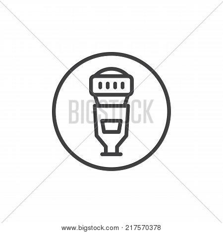 Camera speedlite flash line icon, outline vector sign, linear style pictogram isolated on white. Symbol, logo illustration. Editable stroke