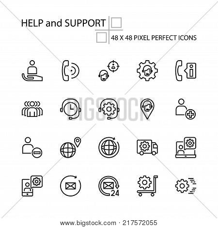HELP and SUPPORT vector illustration thin line 48x48 Pixel Perfect 20 icon set for business on-line marketing people person technical technology call center customer service assistant. Editable Stroke