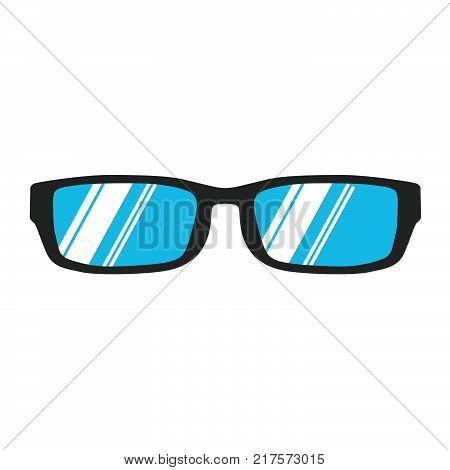 Glasses reading icon vector illustration isolated eye. Black style vision lens white. Fashion optical eyeglasses frame