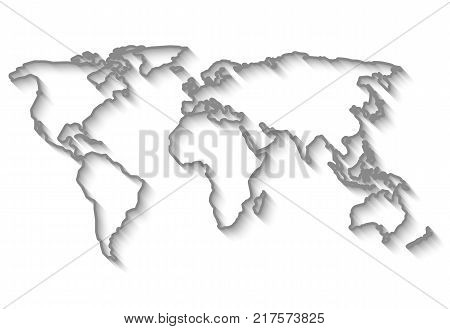 Outlines World map with long shadow isolated on white background