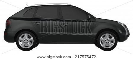 Compact city crossover black color on a white background. 3d rendering
