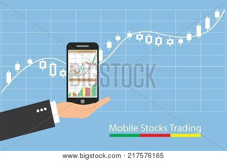 Concept of inforgraphic trading stock market growing for management design analysis business and investment.
