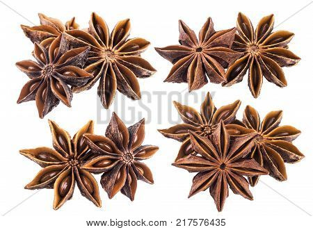 Star anise spice fruit isolated on white background closeup