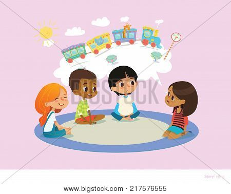 Girl telling fairy tale to other children sitting on round carpet against cartoon train with colorful cars inside speech bubble on background. Kids listening to storyteller. Vector illustration.