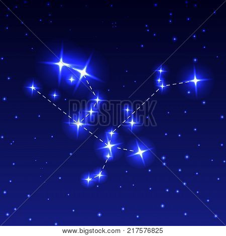 The Constellation Of Andromeda in the night starry sky. Vector illustration of the concept of astronomy