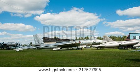 RUSSIA MOSCOW REGION MONINO - August 09 2017: Museum of the air force. strategic bomber 3M version 3MD and other military aircraft