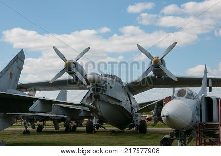RUSSIA MOSCOW REGION MONINO - August 09 2017: Museum of the air force. Anti-submarine amphibian be-12