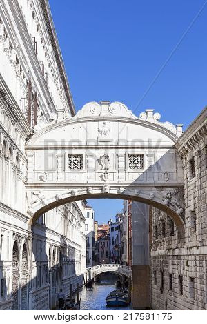 VENICE ITALY- SEPTEMBER 21 2017: Bridge of Sighs (Ponte dei Sospiri) Venice Italy. Bridge was built in in the 17th century it connects the New Prison (Prigioni Nuove) with Doge's Palace