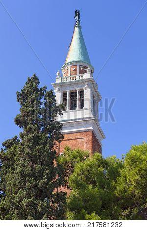 16th-century Benedictine San Giorgio Maggiore church campanile (bell tower) Venice Italy.It is located on San Giorgio one of the islands of Venice