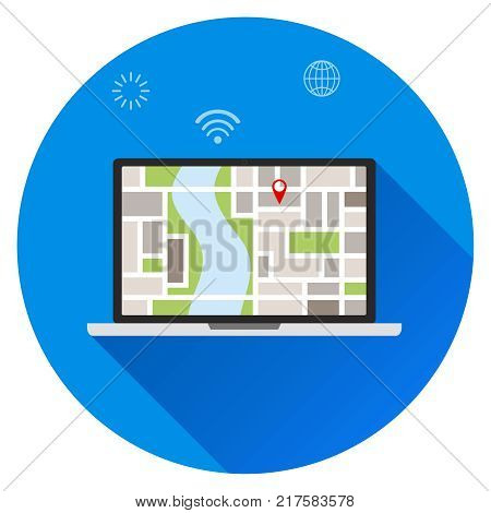 Search for location on the laptop location on the map. Your location you are here concepts. Flat design vector illustration vector.