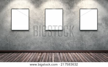 Modern concrete gallery room with wooden floor directional spotlight and artwork frames. Product artwork exhibition mock up. White isolated art frames. 3d rendering illustration