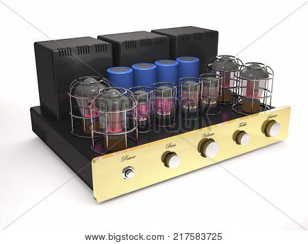 Vintage tube amplifier with glowing valves on white background (3d illustration).