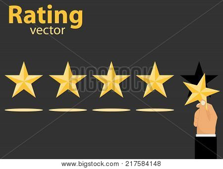 Rating. Exhibiting rating. A hand with a star puts a rating. Flat design vector illustration vector.