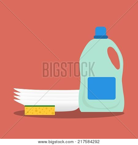 Detergent washcloth and a set of clean plates. Flat design vector illustration vector.