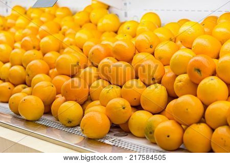 attractive fruit stall with price tags on the store