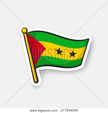 Vector illustration. Flag of Sao Tome and Principe. Countries in Africa. Location symbol for travelers. Isolated on white background. Cartoon sticker with contour. Decoration for patches, prints