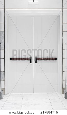 abstract white doors entrance and exit . business concept