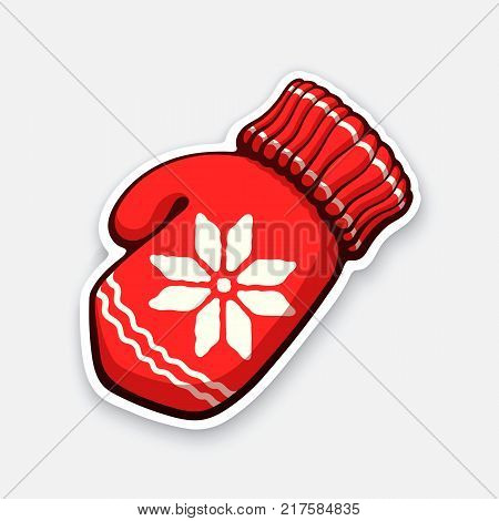 Vector illustration. Christmas red mitten with snowflake pattern. Winter wool glove for cold weather. New year decoration. Sticker in cartoon style with contour. Isolated on white background