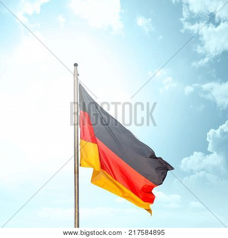 The national flag of Germany on the flagstaff