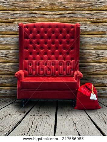 red chair and red bag. Collage on dummy background