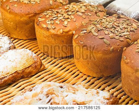 homemade bread with sunflower seeds  on market
