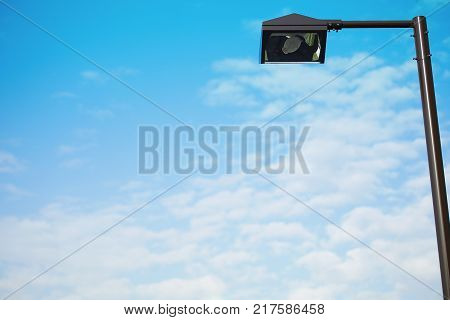 Streetlight of the town of the blue sky which it was fine