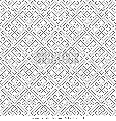 Vector seamless pattern. Modern simple geometrical texture with small outline rhombuses and thin lines which form classical tile shapes. Abstract regularly repeating background.