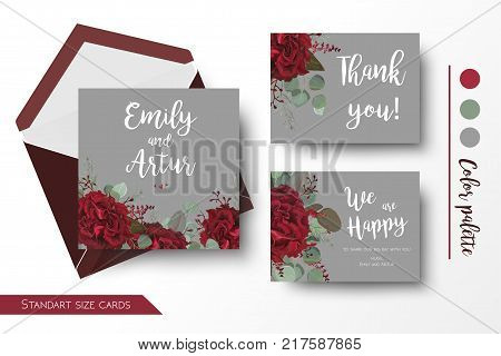 Wedding invite, invitation, thank you, greeting rsvp gray card templates set. Vector watercolor floral bouquet design: red marsala burgundy Rose flower, seeded Eucalyptus branch & silver green leaves