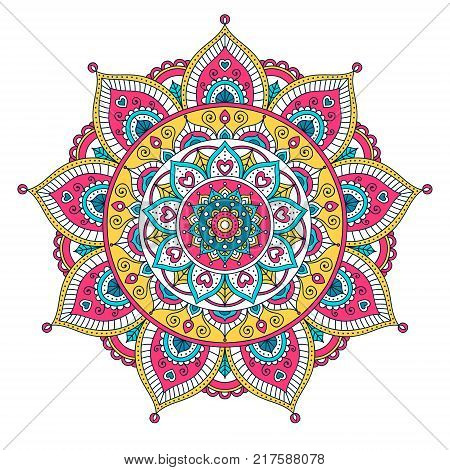 Vector hand drawn doodle mandala with hearts. Ethnic mandala with colorful ornament. Isolated. Pink white yellow blue colors. On white background.
