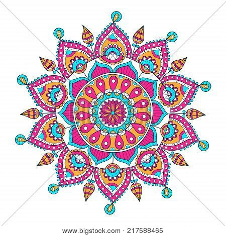 Vector hand drawn doodle mandala. Ethnic mandala with colorful ornament. Isolated. Illustration on doodle style.