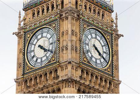 Two clock faces of Big Ben Clocktower, London, England