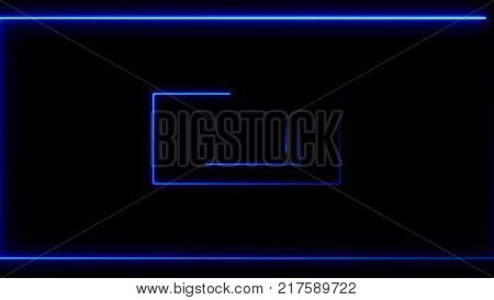 Abstract background with neon rectangles. 3d rendering