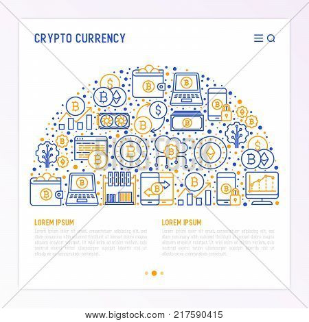 Cryptocurrency concept in half circle with thin line icons set: mining farm, bitcoin, exchange, wallet, online banking, coin, payment. Modern vector illustration for banner, web page.