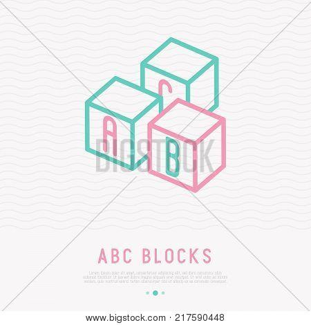Abc blocks thin line icon. Modern vector illustration of preschool education for baby.