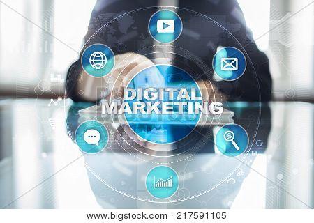 Digital Marketing Technology Concept. Internet. Online. Search Engine Optimisation. Seo. Smm. Advert