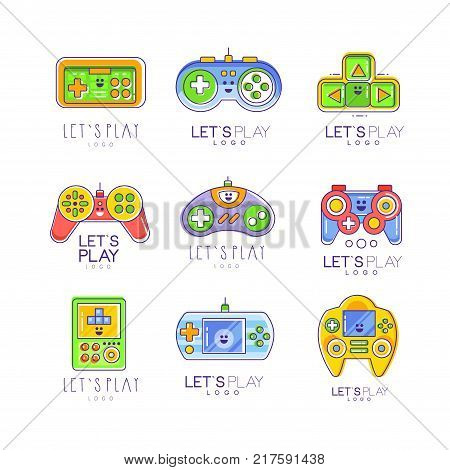 Game gadget let s play logo collection in line style, gameplay, joystick, gaming controller. Vector illustration isolated on white. Colorful graphic design for games store or card.
