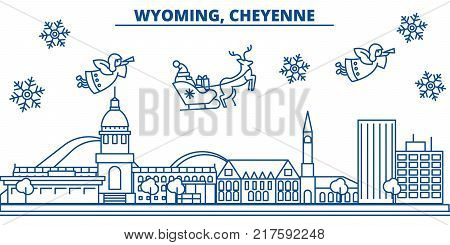 USA, Wyoming , Cheyenne  winter city skyline. Merry Christmas and Happy New Year decorated banner. Winter greeting card with snow and Santa Claus. Flat, line vector, linear christmas illustration