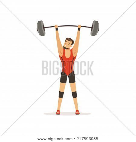 Professional athlete holding barbell above his head. Cartoon strong man character in red lifter suit. Weightlifting concept. Competition sport game. Isolated flat vector illustration.