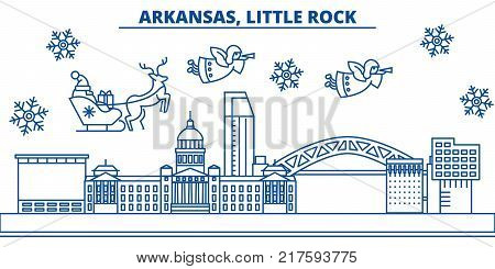 USA, Arkansas, Little Rock  winter city skyline. Merry Christmas and Happy New Year decorated banner. Winter greeting card with snow and Santa Claus. Flat, line vector, linear christmas illustration